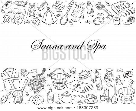Sauna and spa. Sauna accessories sketches in horizontal composition. Hand drawn spa items collection. Doodle treatment objects isolated on white background.