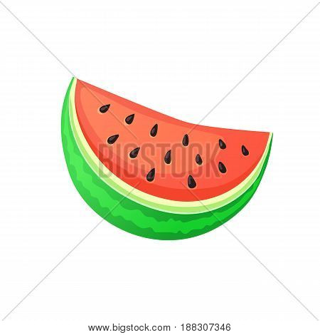 Bright cartoon watermelon icon. Colorful watermelon slice isolated on white background. Vector illustration.