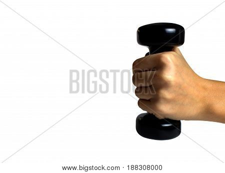 Hand Holding Black Dumbbell Isolated
