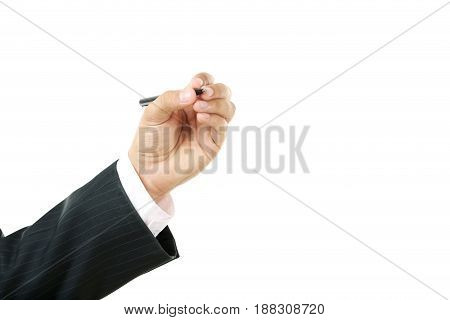 Businessman Holding Pen In His Hand On White Background