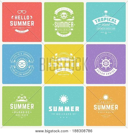 Summer holidays design elements and typography vector set. Retro and vintage style labels and badges good for Posters, greeting cards and advertising. Beach vacation, party, travel, tropical paradise.