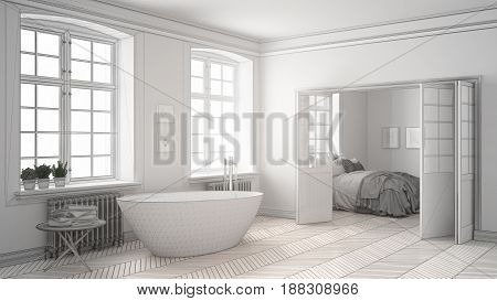 Unfinished project of minimalist white bathroom with bedroom in the background sketch abstract interior design, 3d illustration