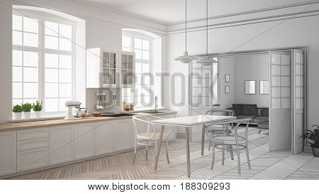 Unfinished project of minimalist white kitchen sketch abstract interior design, 3d illustration