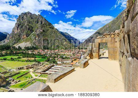 Ollantaytambo Peru. Inca Fortress ruins on the temple hill.