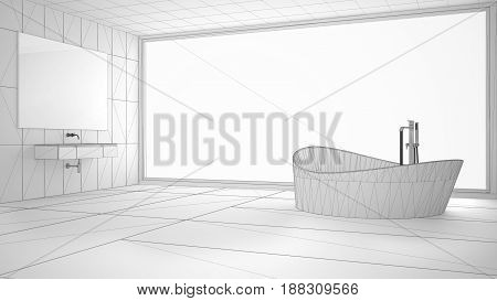 Unfinished project of minimalist bathroom with big panoramic window sketch abstract interior design, 3d illustration