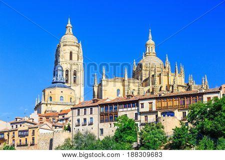 Cathedral de Santa Maria de Segovia in the historic city of Segovia Castilla y Leon Spain.