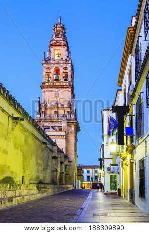 Cordoba Spain. Bell tower at the Mezquita Mosque-Cathedral.