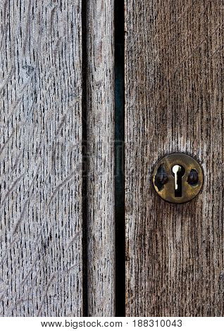 Old Wooden Door With Metal Lock Close Up Texture