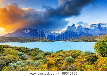 Torres Del Paine National Park Chile. Sunset at the Pehoe lake.