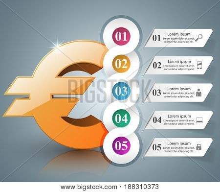 3D infographic design template and marketing icons. Euro, Money icon.