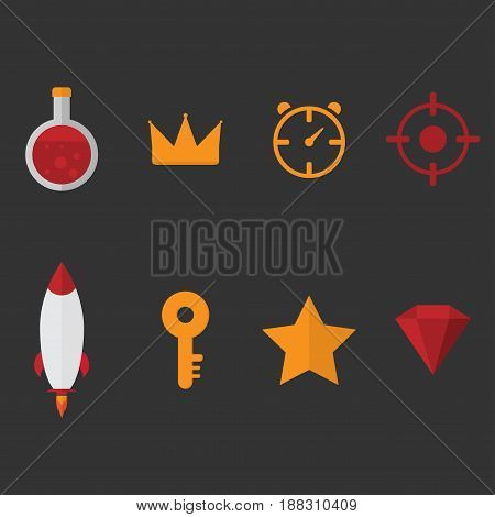 set collection of game items potion crown time target rocket key star gem icons vector with light black background