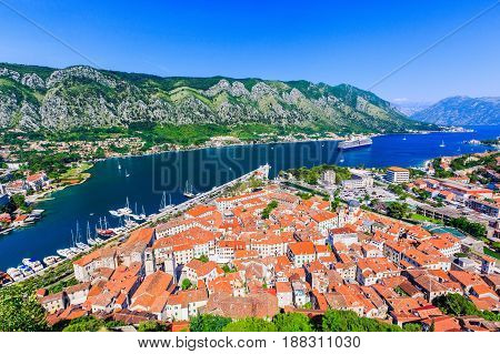 Kotor Montenegro. View of Bay of Kotor old town from Lovcen mountain.