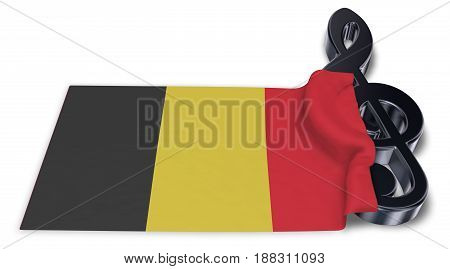 clef symbol and flag of belgium - 3d rendering