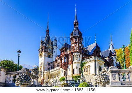 Peles castle in Muntenia region Romania. Sinaia Prahova county.