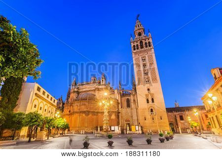 Seville Spain. Cathedral of Saint Mary of the See with the Giralda bell tower.