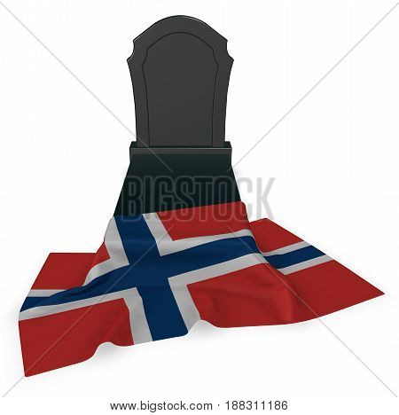 gravestone and flag of norway - 3d rendering poster