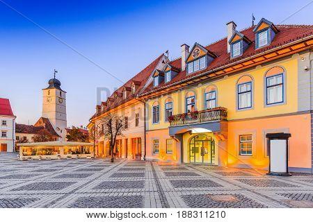 Sibiu Romania. Council Tower at Piata Mare (Large Square) Transylvania.