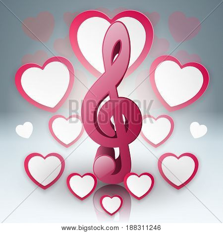 Paper hearts Valentines day. Love and heart  icon.