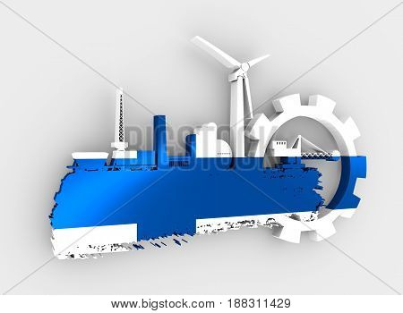 Energy and Power icons set and grunge brush stroke. Energy generation and heavy industry relative image. Flag of the Finland. 3D rendering