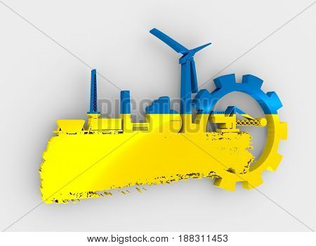 Energy and Power icons set and grunge brush stroke. Energy generation and heavy industry relative image. Flag of the Ukraine. 3D rendering