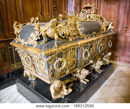 BERlIN GERMANY - APRIL 8: Tomb of Frederick I in Berlin cathedral King of Prussia on April 8 2017 in Berlin