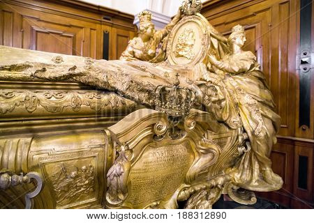 lIN GERMANY - APRIL 8: Tomb of Frederick I in Berlin cathedral King of Prussia on April 8 2017 in BerlinBER