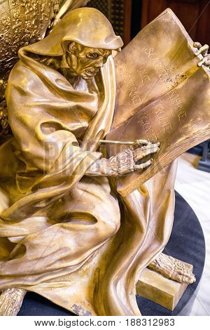 BERLIN GERMANY - APRIL 8: Detail of golden tomb of Frederick I in Berlin cathedral King of Prussia on April 8 2017 in Berlin