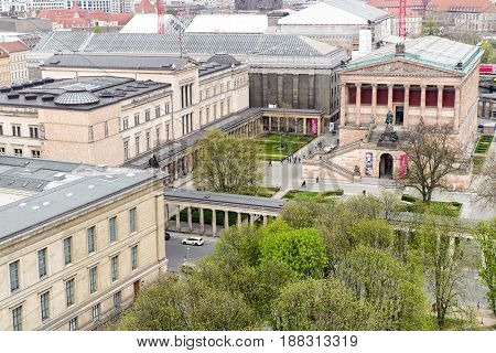 BERLIN GERMANY - APRIL 8: The Museum island from Berlin cathedral on April 8 2017 in Berlin