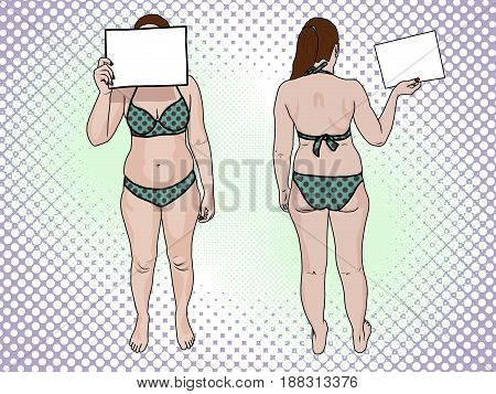 A fat woman in a swimsuit holds a sign pop art retro style. Front view and back. The concept of a healthy lifestyle and unhealthy lifestyle