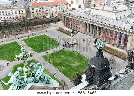 BERLIN GERMANY - APRIL 8: The Altes Ancient museum from Berlin cathedrall on April 8 2017 in Berlin