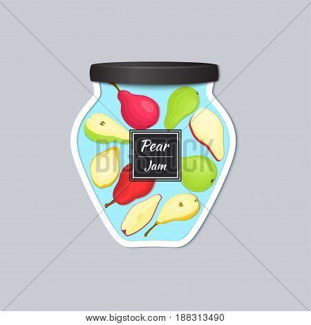 Vector label in the form of a jar with jam with a realistic lid. Pears fruits in a jar. Vector illustration of a fruit sticker for the design of packaging of juice, marmalade, jam, detox diet