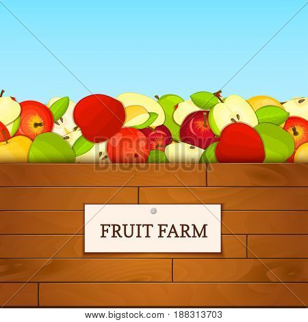 Wooden box with apple fruits. Vector card illustration. Boards wood background, border with apples fruit and label. For the design of packaging, food marmalade, jam, juice, detox diet