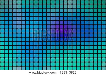 Turquoise Blue Purple Abstract Rounded Mosaic Background Over Black
