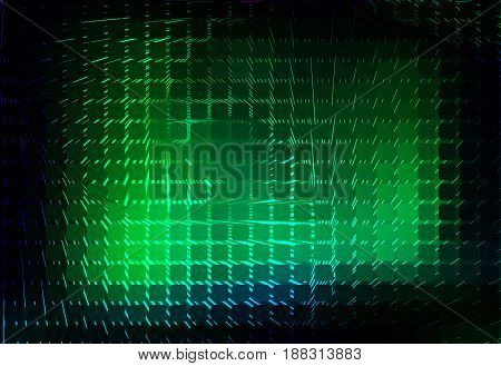 Glowing Neon Green Spiral Rounded Mosaic Background