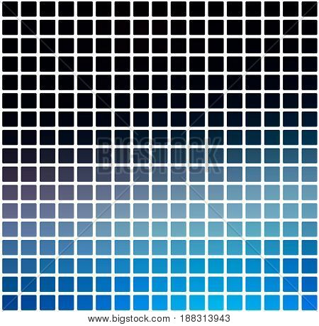 Deep And Pale Blue Rounded Mosaic Background Over White Square