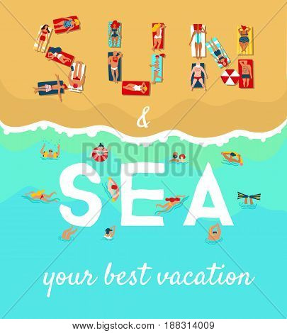 Summer sea beach vacation flat advertising poster with sunbathing diving and swimming people vector illustration
