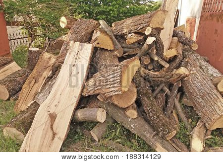 Stock of dry wood. For fire for warm the room.
