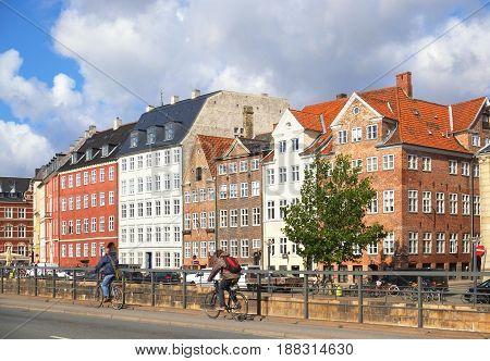 COPENHAGEN DENMARK - AUGUST 22 2014: Gammel strand in Copenhagen. The old street along the natural harbour in the center of Copenhagen. The street was famouse by its fish market.