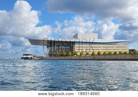 COPENHAGEN DENMARK - AUGUST 22 2014: The Copenhagen Opera House (Operaen) is the national opera of Denmark. It was designed by the architect Henning Larsen.