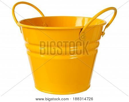 Orange metal bucket isolated on white background