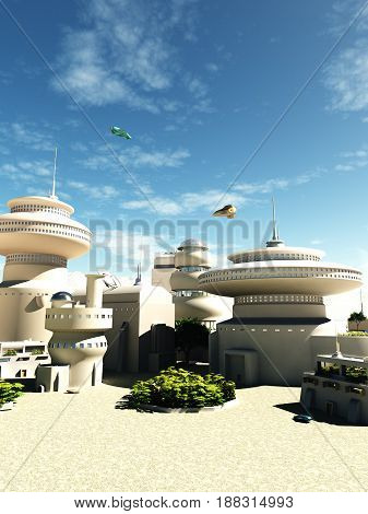 Science fiction illustration of futuristic buildings in a town square on a bright sunny day, digital illustration (3d rendering)