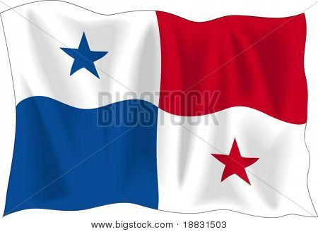 Waving flag of Panama isolated on white