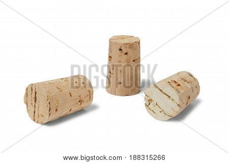 Three bottle stoppers isolated on white background