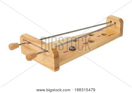 Wooden game with steel ball isolated on white background