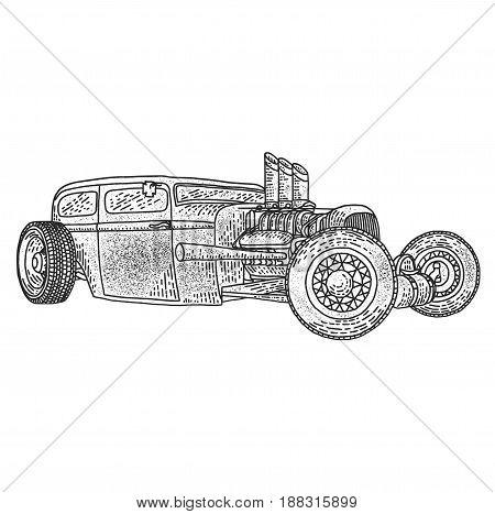 Isolated illustration of custom hot rod. Hand drawn illustration.