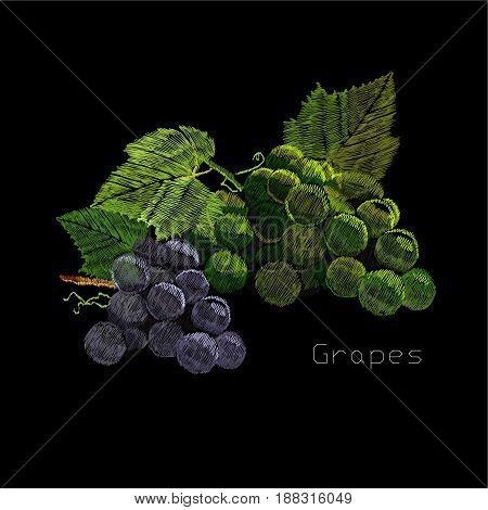 Vector illustration of embroidery, needlework with a bunch, cluster of grapes with a green leaf. Necklace of traditional ornament decoration on black background.