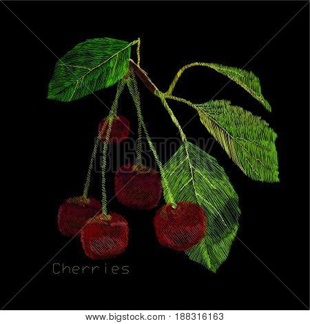 Vector illustration of embroidery, needlework with a cherry berry with a green leaf. Necklace of traditional ornament decoration on black background.