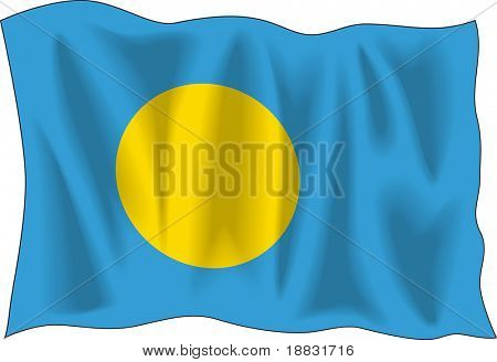 """Waving flag of """"Palau"""" isolated on white"""