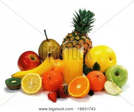 Mixed Fruits on table isolated on white