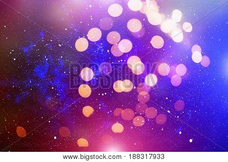 glittering shine bulbs lights background:blur of Christmas wallpaper decorations concept.holiday festival backdrop:sparkle circle lit celebrations display.